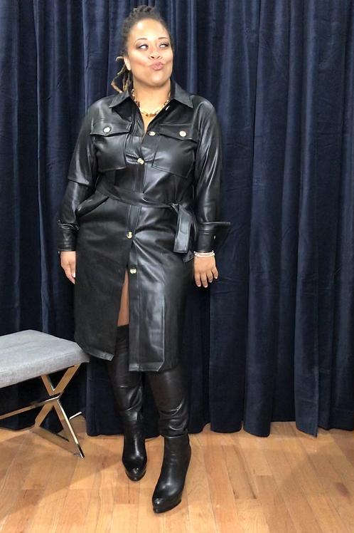 Vegan Leather Shirt Dress BLK