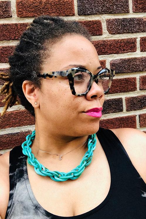 Turquoise Acrylic Spiga Link Necklace