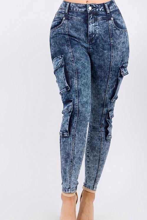 Acid Wash Cargo Jeans BLU