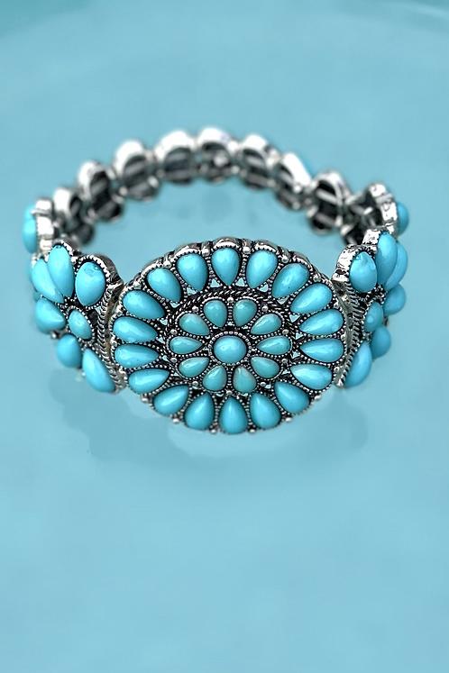 Southwestern Squash Blossom Stretch Bracelet
