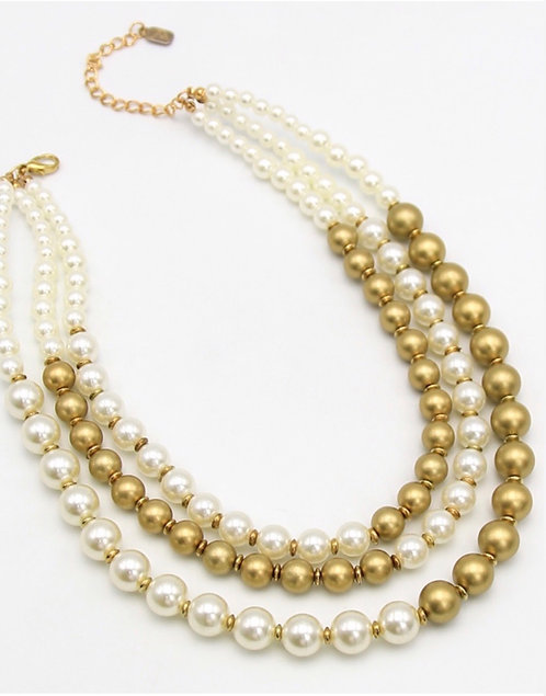 Gold and Ivory Pearl Necklace