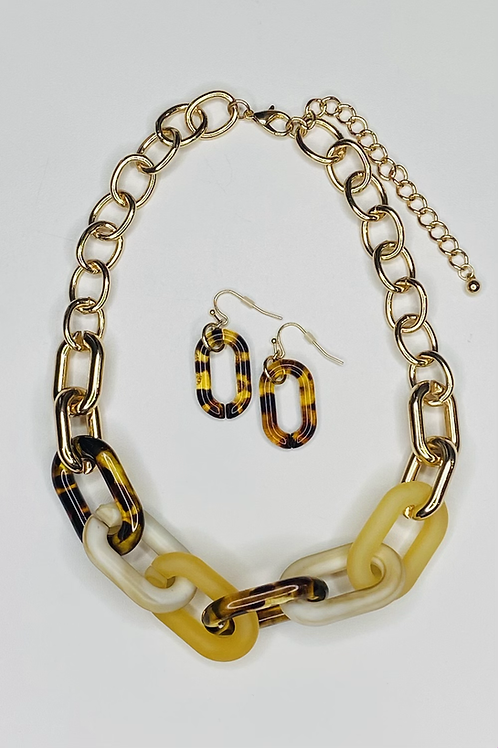 Marble and Tortoise Shell Link Necklace