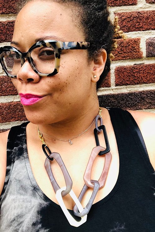 Acrylic and Wood Mix Link Necklace