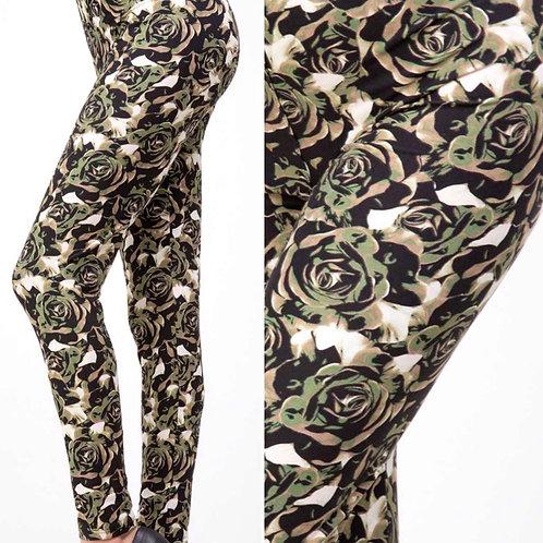 Wow! Leggings Olive Rose Print