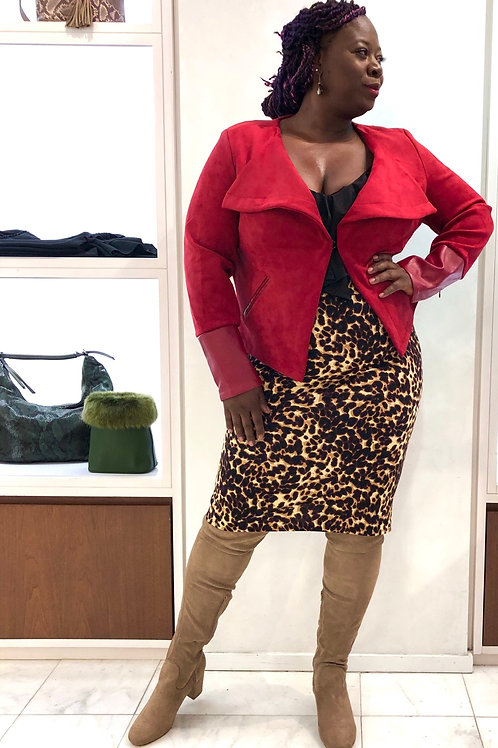 Curvy Faux Suede Jacket - Chili Pepper