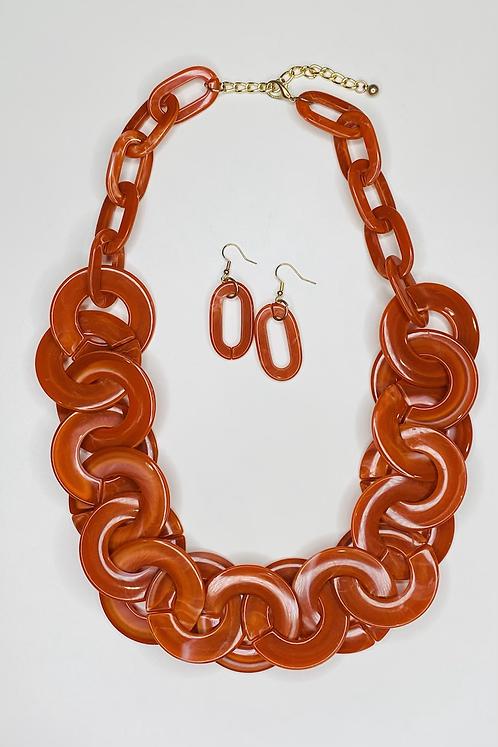 Orange Acrylic Resin Links Necklace