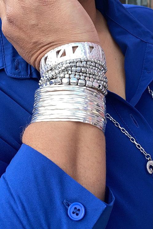 Hammered Multi Row Cuff Bracelet