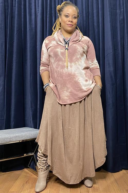 Smocked Waist Maxi Skirt