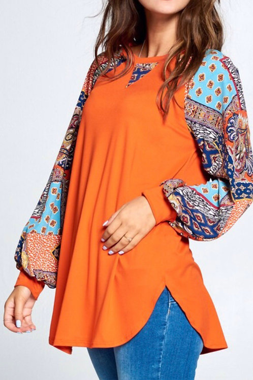 Patch Print Sleeve Top