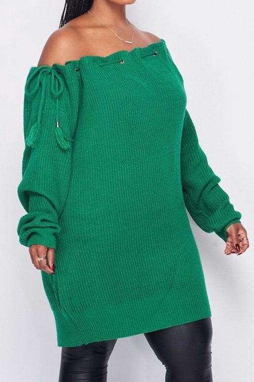 PLUS Tied Open Shoulder Sweater Tunic GRN