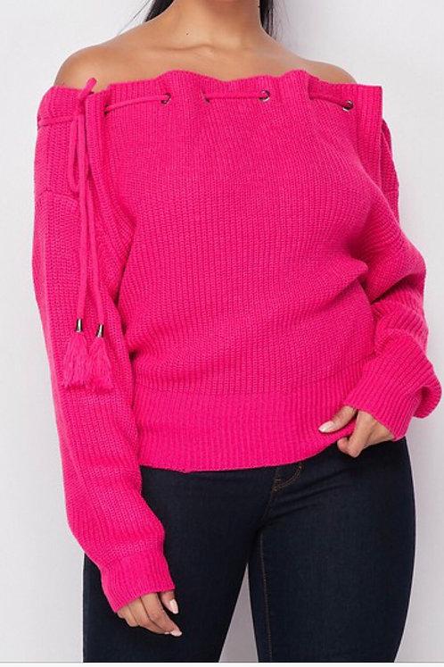 Tied Open Shoulder Sweater PNK