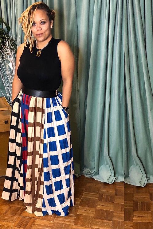 Color Block Plaid Skirt