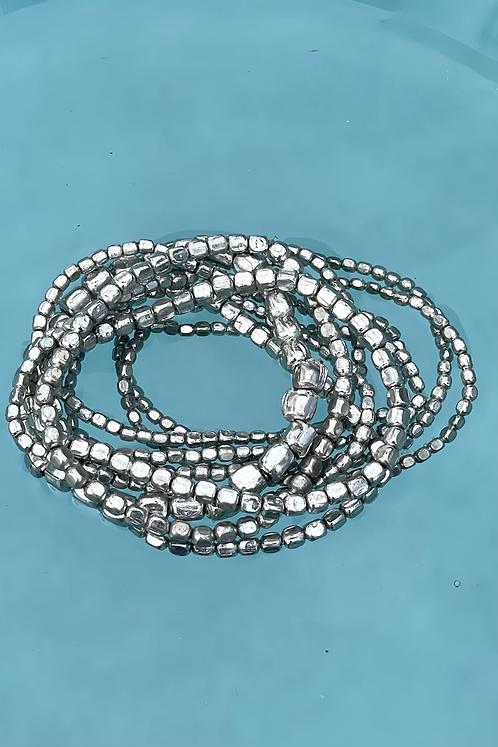 Silver Multi-strand Stretch Bracelets