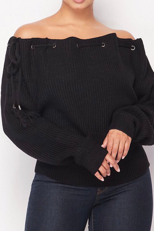 Tied Open Shoulder Sweater BLK