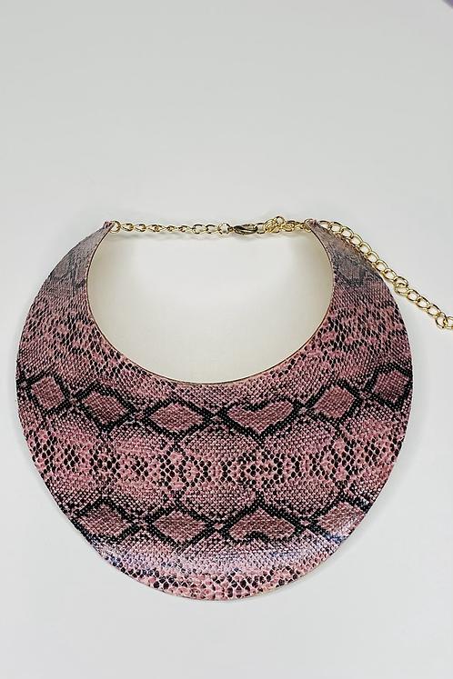 Pink Snakeskin Bib Necklace