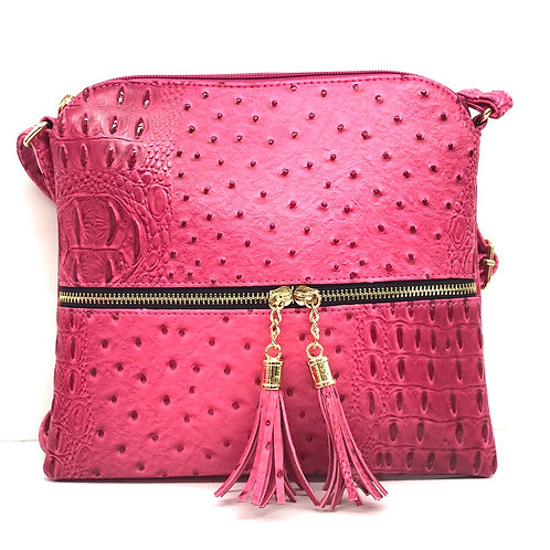 Pink Ostrich Crossbody Purse