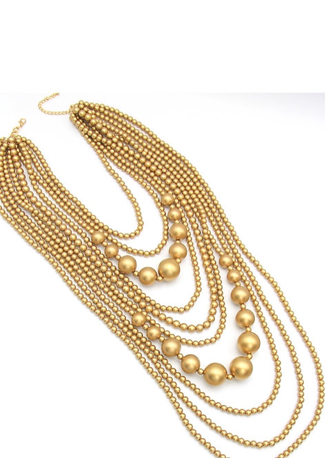 10 Strand Gold Pearl Body Necklace