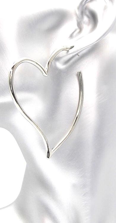 Heart Shaped Half Hoop Earrings