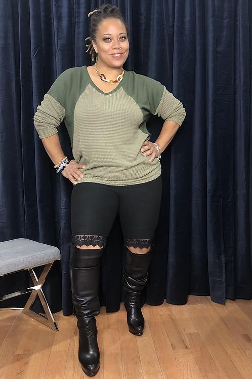 Lace Split Knee Leggings