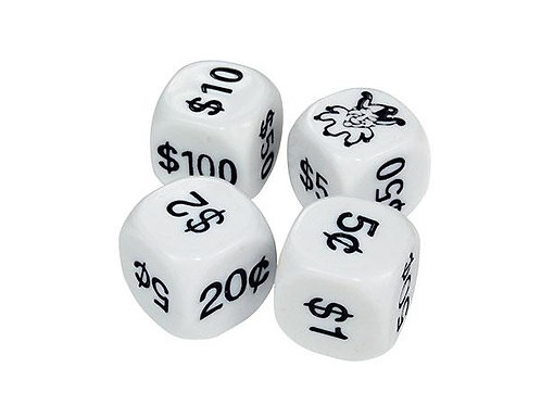 Money Dice Coins & Notes 22 mm 4 Pieces $4.95