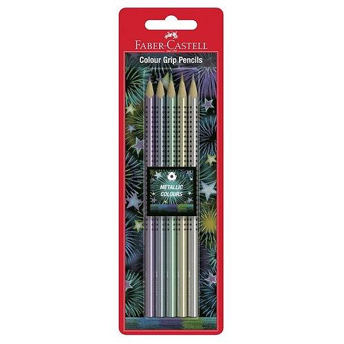 Faber-Castell Metallic Triangle Grip Pencils 5pk