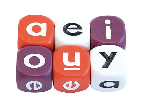 Alphabet Dice Vowel 16mm 2 Pk (Red Only)