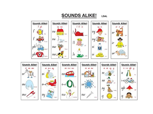 Sounds Alike Wall Cards Large