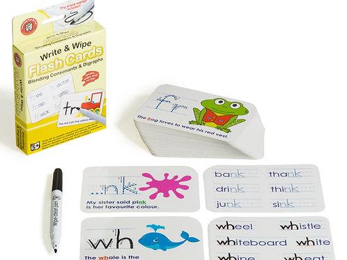 Write N Wipe Flashcard Blending Consonants & Digraphs plus Dry Erase