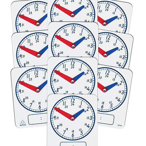 Clock Dial Digit/Analog Write On/Wipe Off 24hr 10pkt