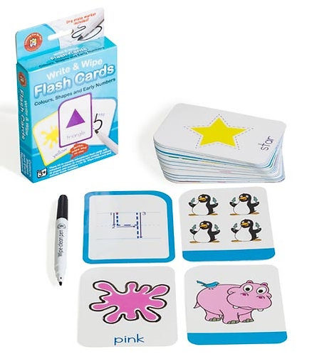 Write N Wipe Flashcard Colours, Shapes & EarlyNumbers plus Dry Erase Marker