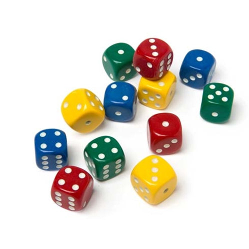 Dice, 15mm, 4 Assorted Colours (Set of 4) $2.20