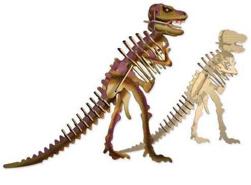 Wooden T-Rex Model - Coloured