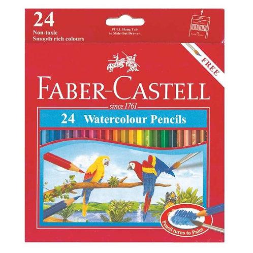 Faber-Castell Watercolour Pencils 24pk Plus Paintbrush