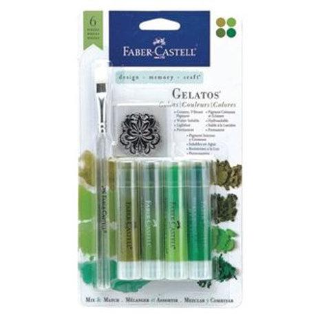 Faber-Castell Gelatos Green 4 pack plus Brush