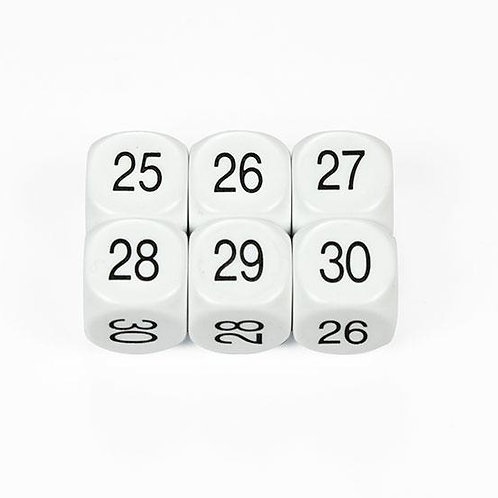 Dice Numbers 25-30 16mm 1 piece $2.95