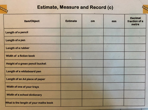Estimate Measure & Record Laminated A4 Cards