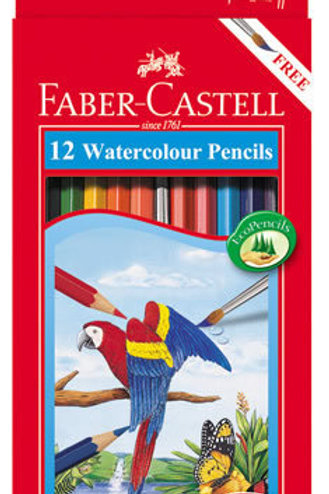 Faber-Castell Watercolour Pencils 12pk Plus Paintbrush $9.85