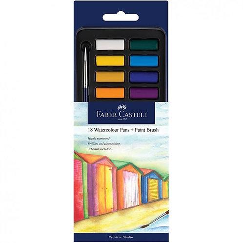 Faber-Castell Watercolours Pan of 18 Plus Paint Brush