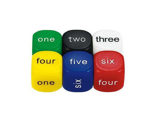 Dice 6 Face 1-6 Word 16mm 2 Pk $1.95
