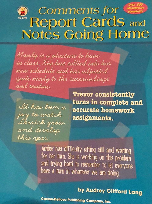 Comments for Report Cards & Notes Going Home