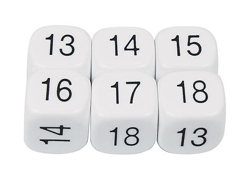 Dice Numbers 13-18 16mm 2 piece $2.95