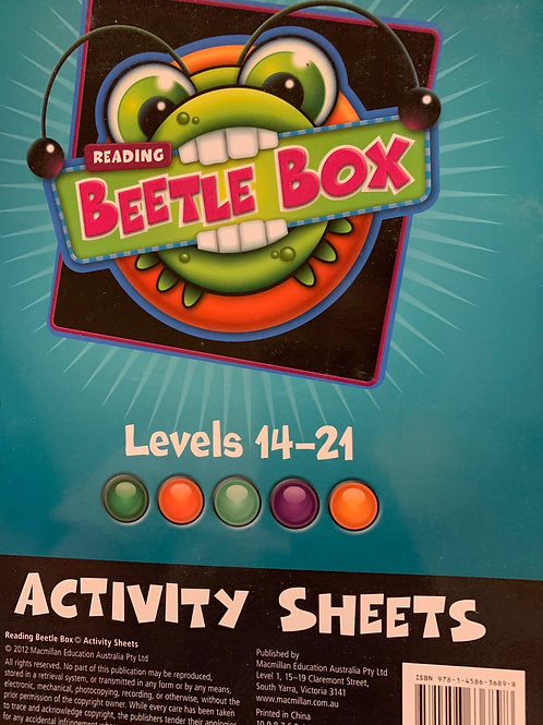 Reading Beetle Box Activity Sheets BLMs Levels 14-21
