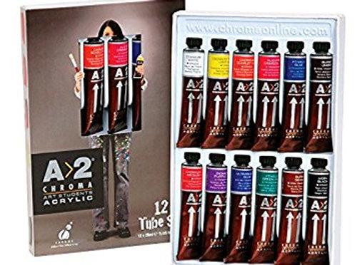Chroma A2 Lightfast Heavy Body Acrylic Paint Tube Set 12 x 20ml