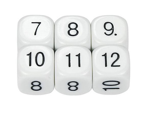Dice Numbers  7-12 16mm 2 piece  $2.95