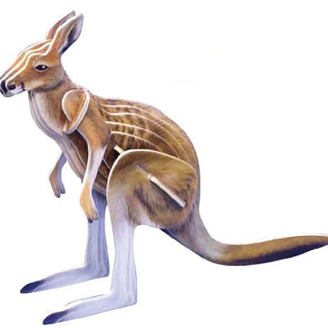 Wooden Kangaroo Model - Coloured