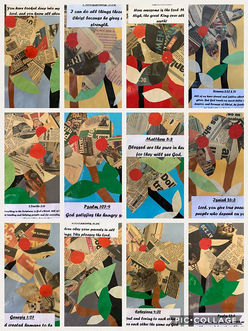 Laminated Handmade Bible Verse Cards A4 x 12