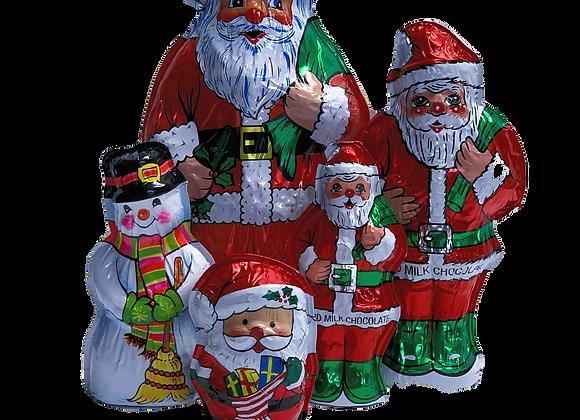 Large Foiled Santas and Snowman