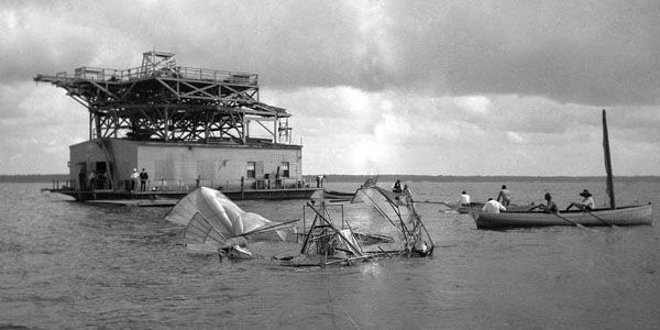 Samuel Langley's Aerodrome being recovered from the river