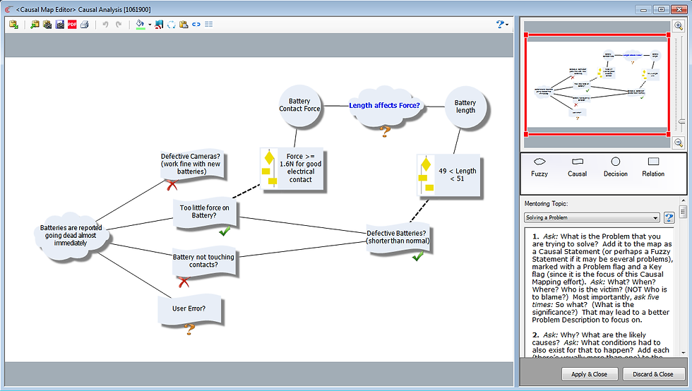 Causal Map Editor for Root Cause Analysis leading to Trade-Off Analysis