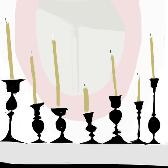 Candlesticks on the mantle